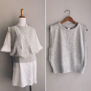 Grey Open-Side Knit Boxy Vest Top